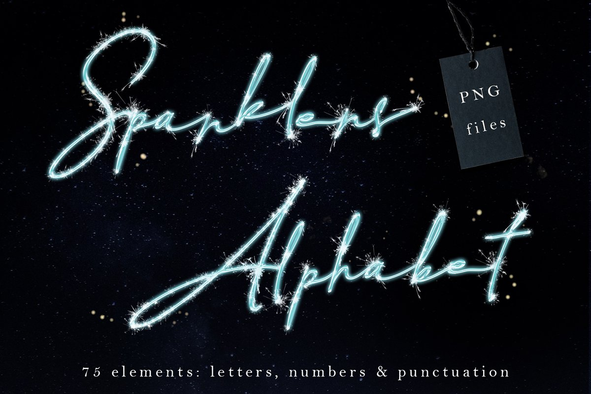 Sparklers letters clip art