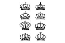 Set of heraldic royal crowns