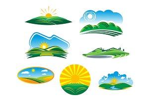 Set of sunny summer landscapes