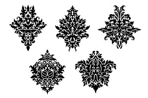 Set of five different foliate arabes