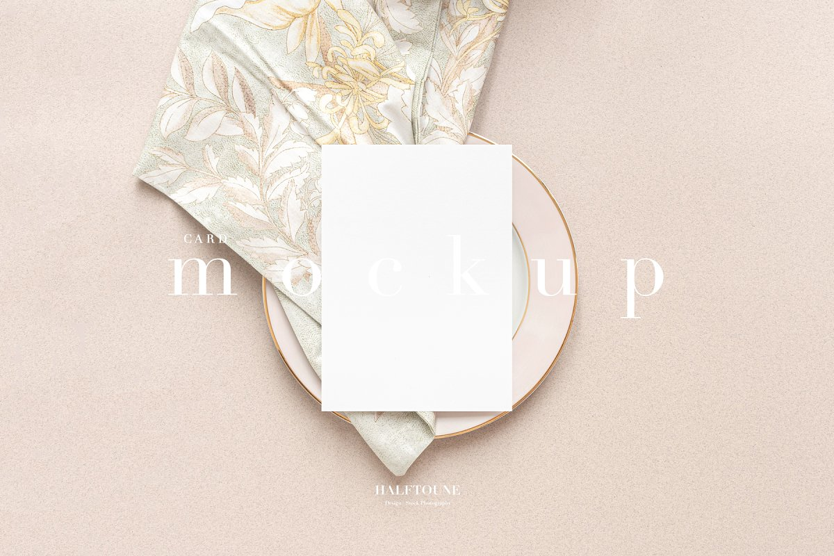 Soft Colors Styled 5x7 Card Mockup
