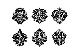 Six different floral arabesque desig