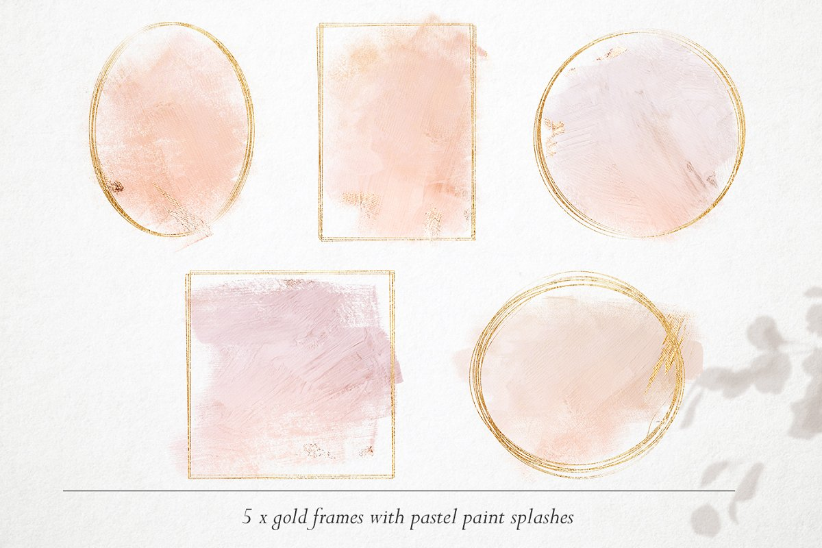 15 Gold & watercolor frames - PNG in Objects - product preview 2