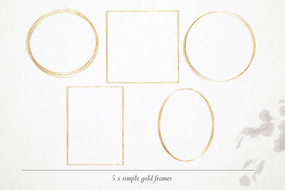 15 Gold & watercolor frames - PNG in Objects - product preview 3