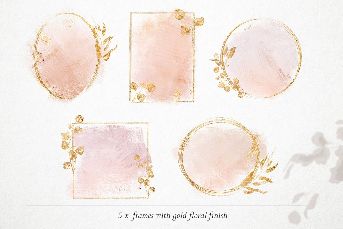 15 Gold & watercolor frames - PNG in Objects - product preview 4