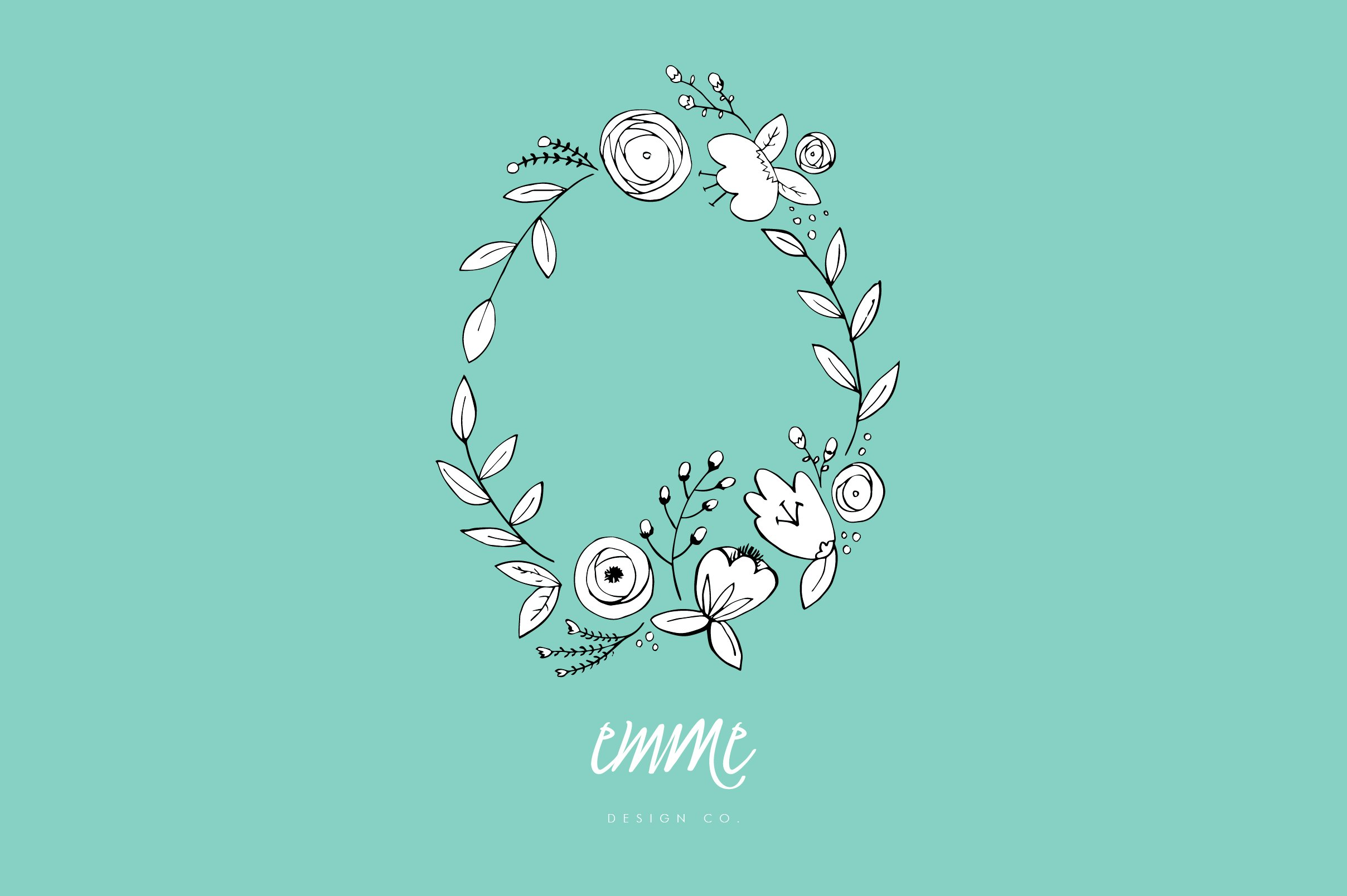 Hand Drawn Flower Wreath