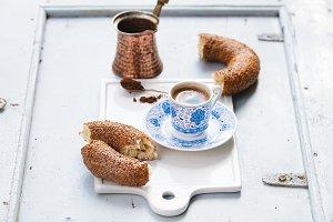 Turkish black coffee with simit