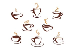 Set of steaming cups of hot beverage
