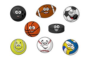 Happy sporting balls and equipment