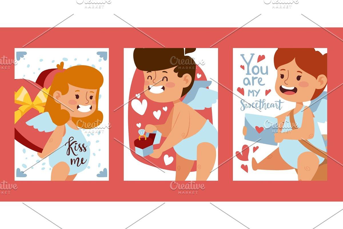 Cupid babies banners, vector