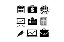 Set of black and white business icon