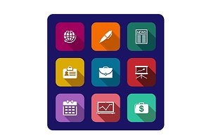 Set of flat business icons