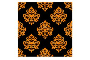 Black and orange seamless floral pat