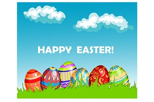Colourful Happy Easter greeting card