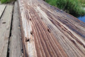 Weathered Wood Bridge Railing