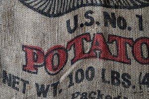 Closeup Detail of Burlap Potato Sack