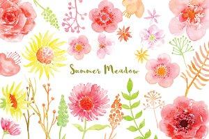 Watercolor Summer Meadow