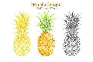 Watercolor Pineapples