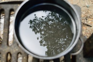 Tree Reflection in Pot Over Campfire