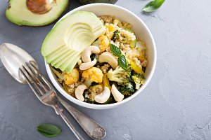 Warm vegetable quinoa salad