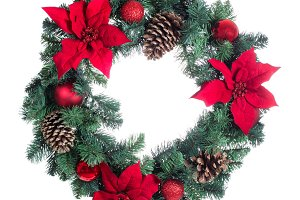 Poinsettia Christmas wreath on white