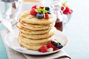 Fluffy oatmeal pancakes stack
