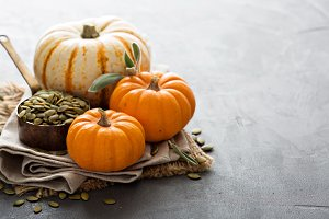 Pumpkins with seeds and sage leaves