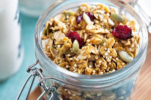 Homemade granola with quinoa