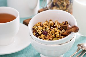 Homemade granola with quinoa