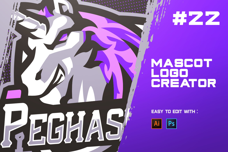 Pegasus Esports Logo Creator Creative Illustrator Templates Creative Market