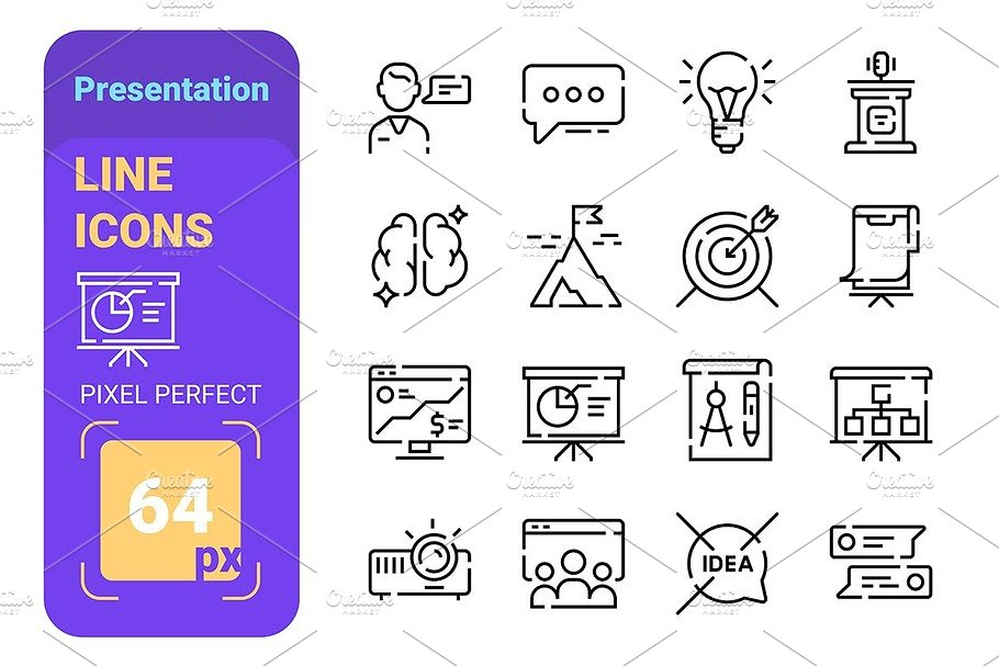 Presentation line icons set with
