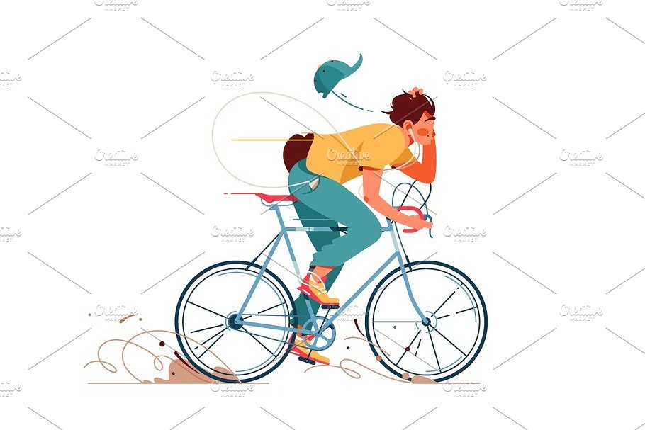Young man rides sport bicycle