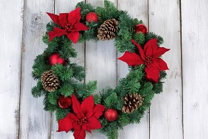 Wreath with Poinsettia flowers