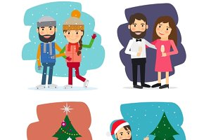 Merry Christmas Vector Characters