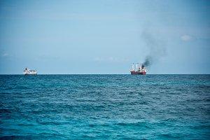 Cargo ships sailing in the Ocean