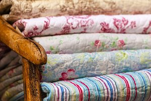 Handmade blankets pile