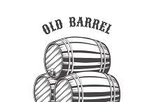 Logo design with wooden beer barrels