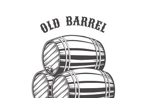 Logo design with wooden beer barrels