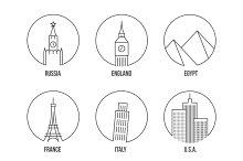 World landmark line art icons set