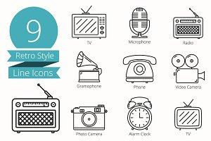 9 Retro Style Line Icons