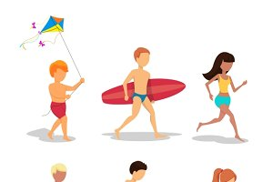 People on the beach in flat style