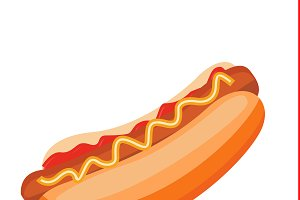 hot dog, vector illustration
