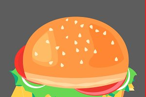Cheeseburger, vector illustration.
