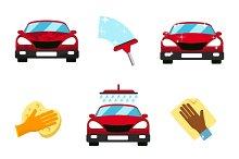 Vector set of car washing flat icons