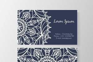 Business card with flower pattern