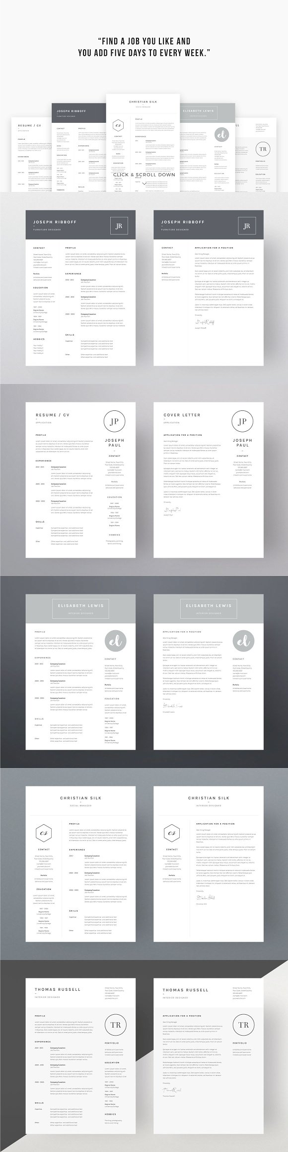 Job Seekers Dream Bundle Resume Templates Creative Market - Graphic design invoice template word michael kors outlet online store