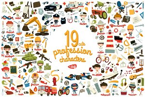 19 cute profession characters +