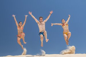People jumping in summer