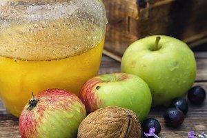 Summer still life of apples and hone