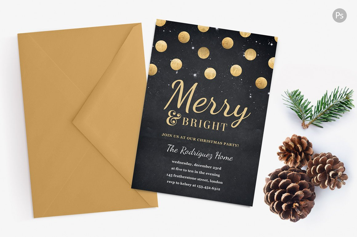 Holiday Party Invite - Gold Confetti ~ Invitation Templates ...